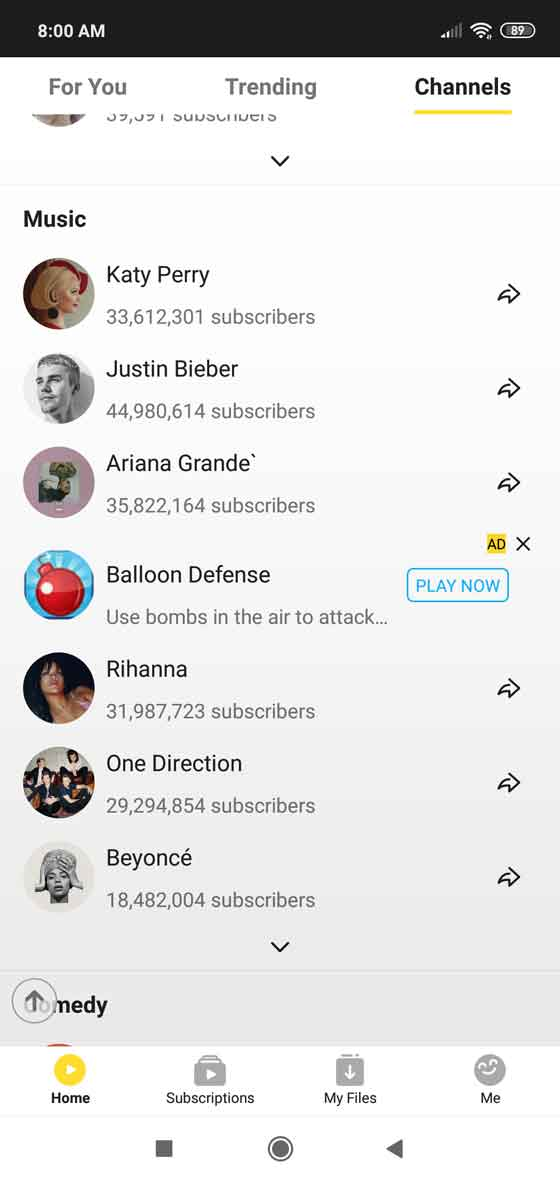 Watch and download videos from top channels