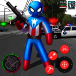 Image of Spider Capitaine american Stickman Rope Hero Crime