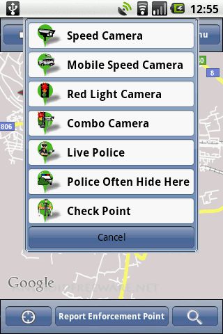 Trapster, your Android phone alerts you by spoken warnings such as Live Police or Red Light Camera as you approach police speed traps, red light cameras, and speed cameras