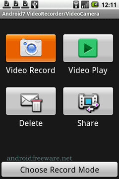 record/play/delete camera video,Convert to MP4,Share via Gmail.