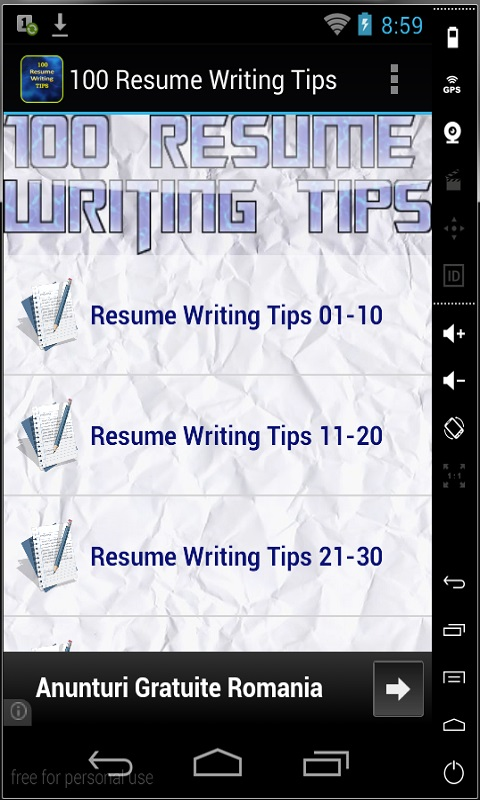 100 resume writing tips free for android