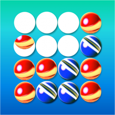 Image of 4 in row, 4 in line, four row, four line, rows puzzle, discs line, balls row