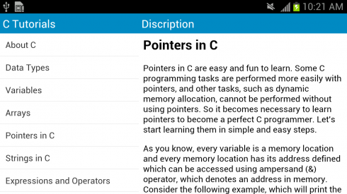 Download C language tutorial free for your Android phone