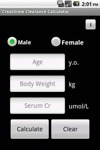Creatinine Clearance Calculator screenshot 1