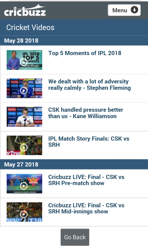 Cricbuzz Lite screenshot 1