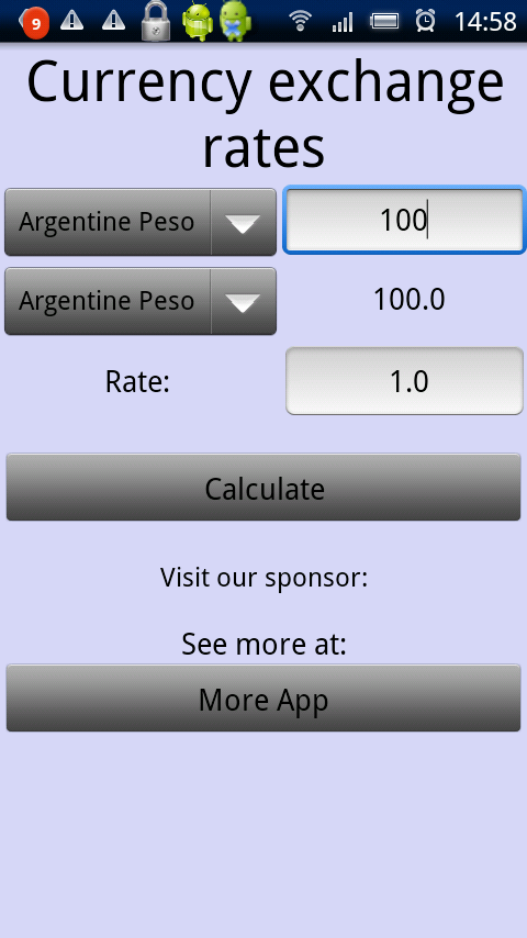 Currency rates screenshot 1