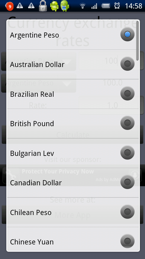 Currency rates screenshot 2