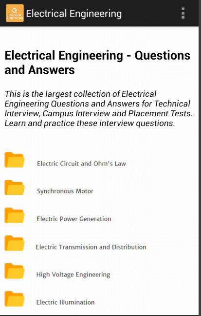 Electrical Engineering MCQ App screenshot 2