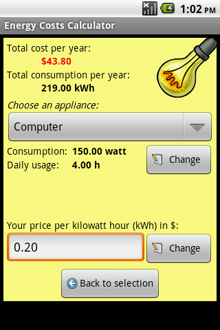 yearly energy cost calculator