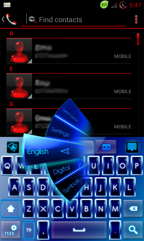 GO Keyboard Blue Neon Theme free app download for Android