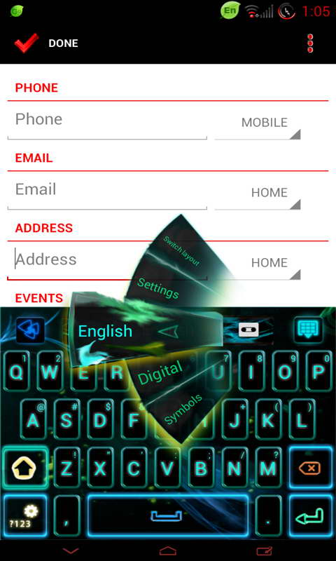 Download GO Keyboard Neon Flame theme free for your Android phone