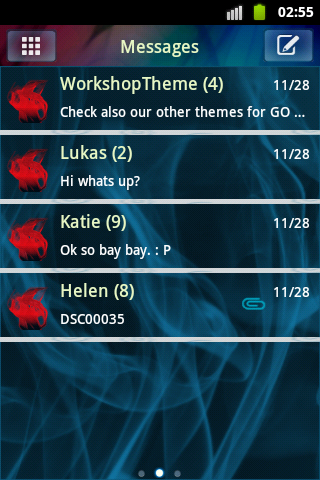 GO SMS PRO Theme Blue Smoke screenshot 1