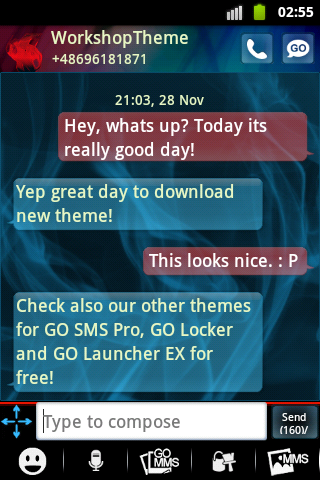 GO SMS PRO Theme Blue Smoke screenshot 2