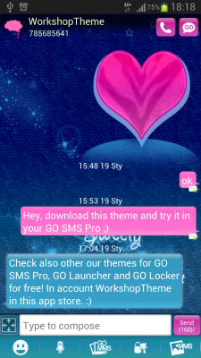 GO SMS Pro Theme Pink Blue screenshot 1
