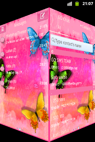 GO SMS Pro Theme Pink Nice screenshot 2