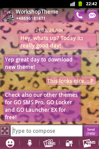 GO SMS Theme Panther screenshot 1
