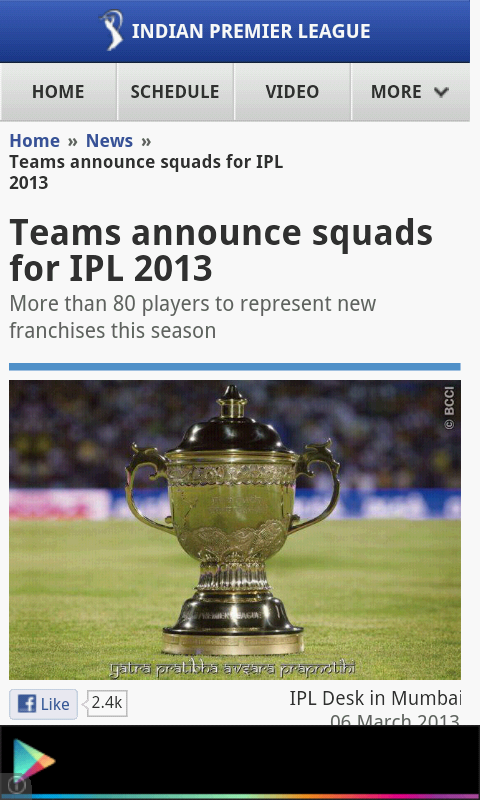 ipl 6 game free  for symbian phone