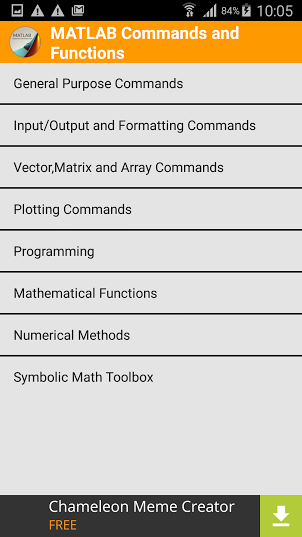 MATLAB Commands and Functions screenshot 2