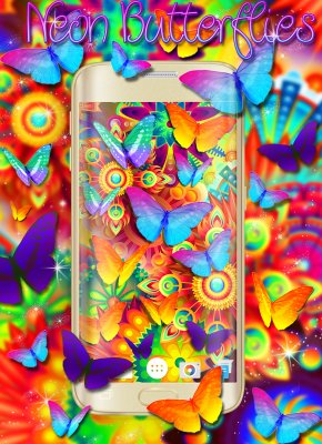 Neon Butterflies Wallpaper screenshot 1