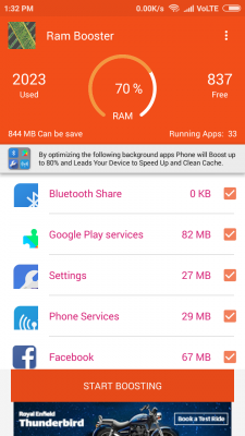 Ram Booster Memory Cleaner Pro screenshot 2