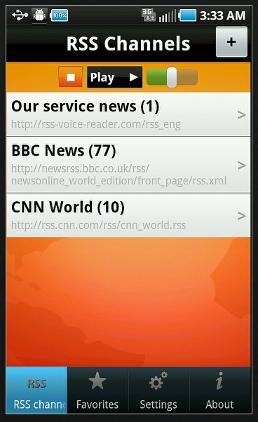 RSS Voice Reader Lite screenshot 1