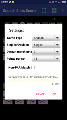 Squash Match Stats Scorer free screenshot 1