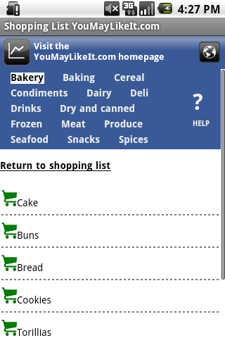 YouMayLikeIt.com Shopping List screenshot 2